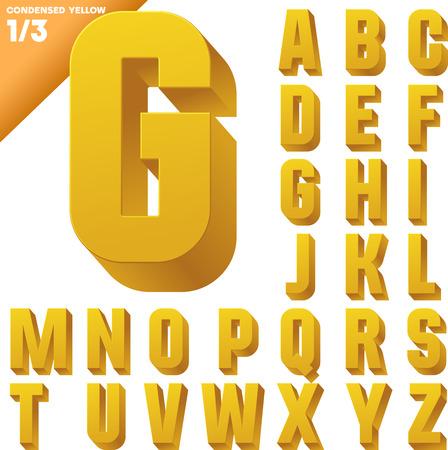 tipos de letras: Alfabeto condensada ilustración vectorial tridimensional de caracteres de la fuente 3d Mayúsculas estilo Borrar color