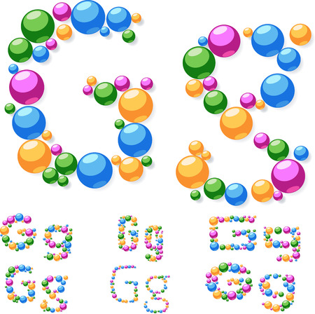 Vector alphabet symbols of colorful bubbles or balls  Letter G Vector