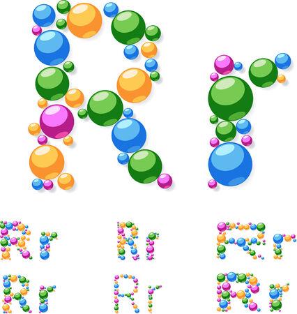 Vector alphabet symbols of colorful bubbles or balls  Letter R Vector