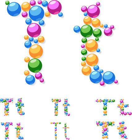Vector alphabet symbols of colorful bubbles or balls  Letter T Vector
