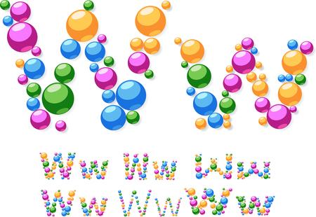 Vector alphabet symbols of colorful bubbles or balls  Letter W Vector
