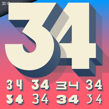 generic: Vector alphabet of simple and generic 3d letters. Numbers 3 4 Illustration