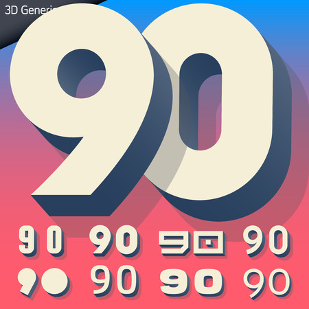 generic: Vector alphabet of simple and generic 3d letters. Numbers 9 0 Illustration