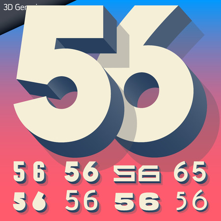 generic: Vector alphabet of simple and generic 3d letters. Numbers 5 6