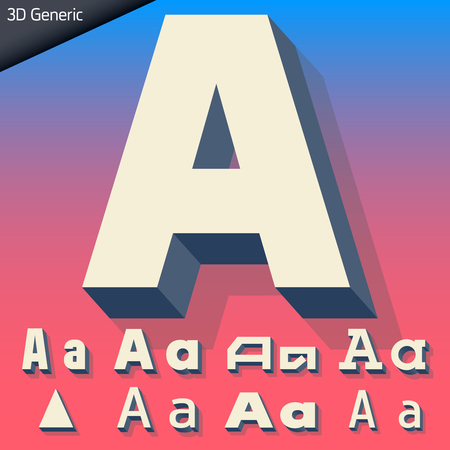 generic: Vector alphabet of simple and generic 3d letters. Letter A