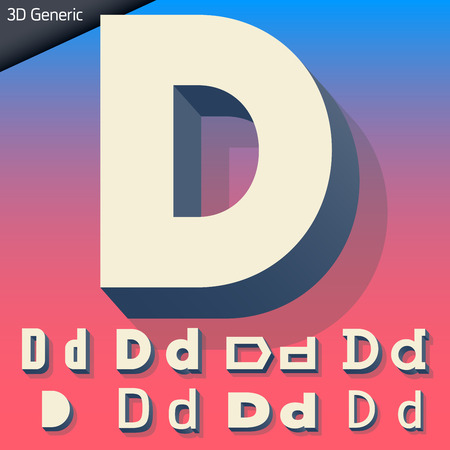 Vector alphabet of simple and generic 3d letters. Letter D