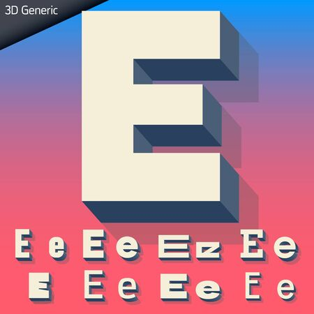 three dimensions: Vector alphabet of simple and generic 3d letters. Letter E Illustration