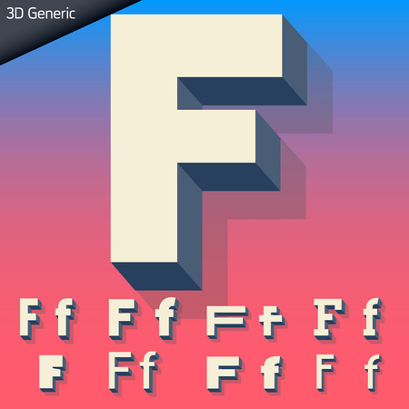 Vector alphabet of simple and generic 3d letters. Letter F