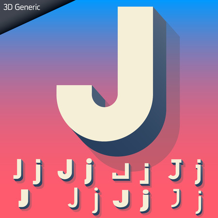 generic: Vector alphabet of simple and generic 3d letters. Letter J