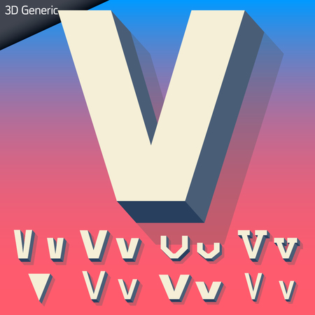 generic: Vector alphabet of simple and generic 3d letters. Letter V Illustration