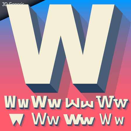 generic: Vector alphabet of simple and generic 3d letters. Letter W