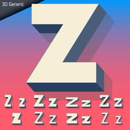 generic: Vector alphabet of simple and generic 3d letters. Letter Z Illustration
