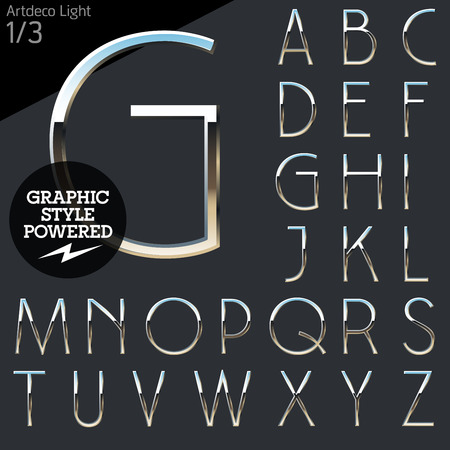 letras cromadas: Cromo plateado y el conjunto de alfabeto vector aluminio. Luz Artdeco. Archivo contiene estilos gráficos disponibles en Illustrator