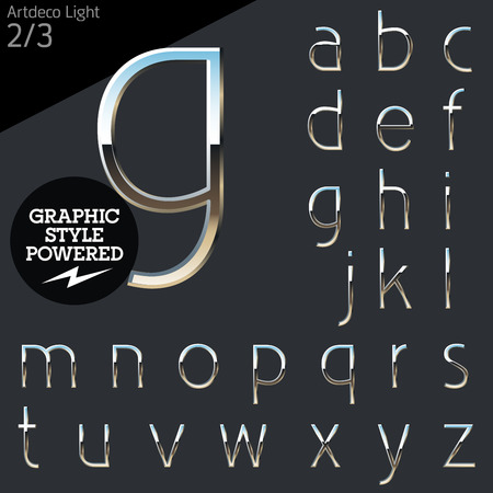 Silver chrome and aluminum vector alphabet set. Artdeco light. File contains graphic styles available in Illustrator Vettoriali