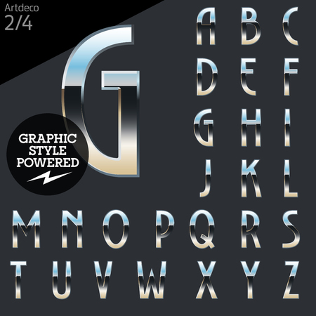artdeco: Silver chrome and aluminum vector alphabet set. Artdeco normal. File contains graphic styles available in Illustrator