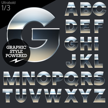 Silver chrome and aluminum vector alphabet set. Bold. File contains graphic styles available in Illustrator Illustration