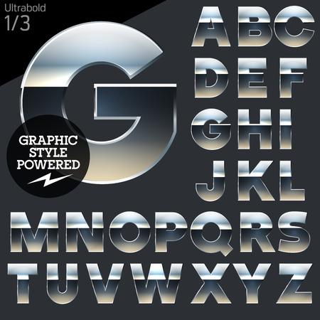 letras cromadas: Cromo plateado y el conjunto de alfabeto vector aluminio. Negrita. Archivo contiene estilos gráficos disponibles en Illustrator