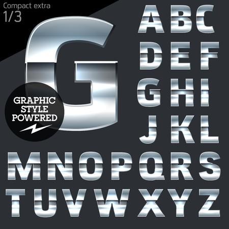 銀、クロム、アルミニウムはベクトル文字セットです。大胆なコンパクトします。ファイルは、イラストレーターで使用可能なグラフィック スタイ