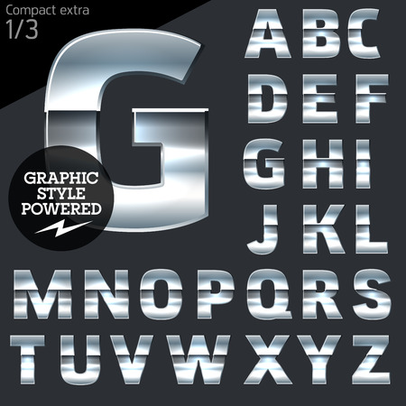 Silver chrome and aluminum vector alphabet set. Compact bold. File contains graphic styles available in Illustrator Çizim
