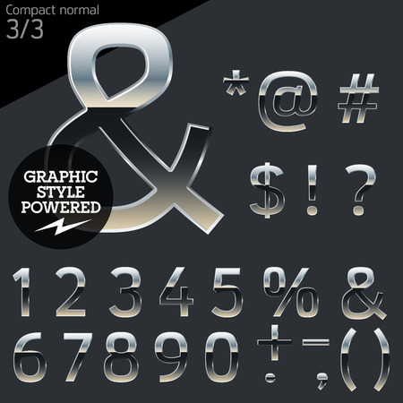 platinum style: Silver chrome and aluminum vector alphabet set. Compact normal. File contains graphic styles available in Illustrator