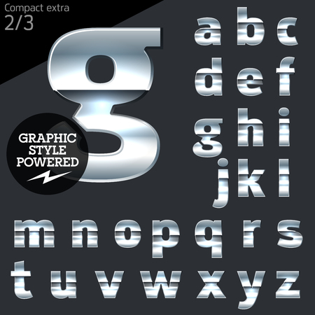 Silver chrome and aluminum vector alphabet set. Compact bold. File contains graphic styles available in Illustrator Vettoriali