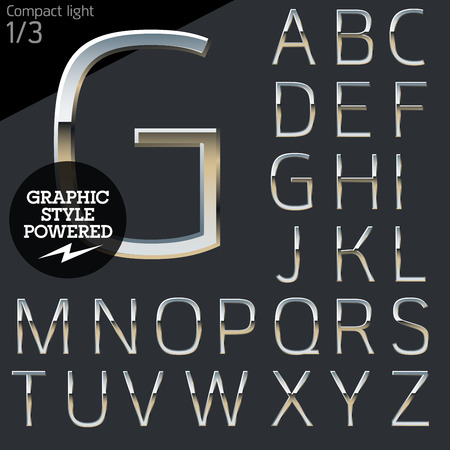 platinum style: Silver chrome and aluminum vector alphabet set. Compact light. File contains graphic styles available in Illustrator