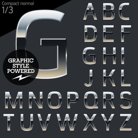 stile: Chrome argento e alluminio vettore alfabeto set. Compact normale. File contiene gli stili grafici disponibili in Illustrator