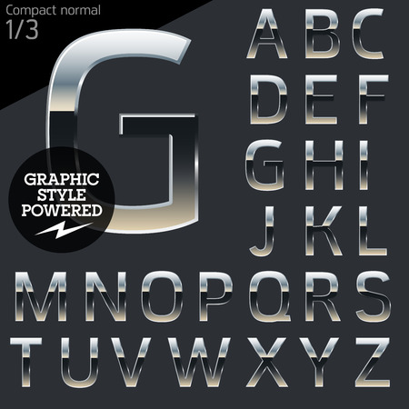 typeset: Silver chrome and aluminum vector alphabet set. Compact normal. File contains graphic styles available in Illustrator