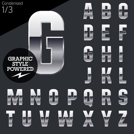 Silver chrome and aluminum vector alphabet set. Condensed. File contains graphic styles available in illustrator