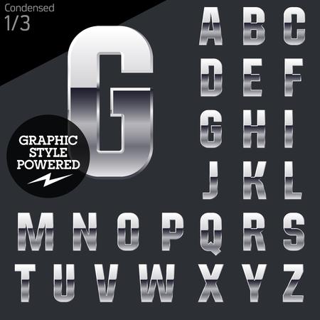 letras cromadas: Cromo plateado y el conjunto de alfabeto vector aluminio. Condensada. Archivo contiene estilos gráficos disponibles en ilustrador