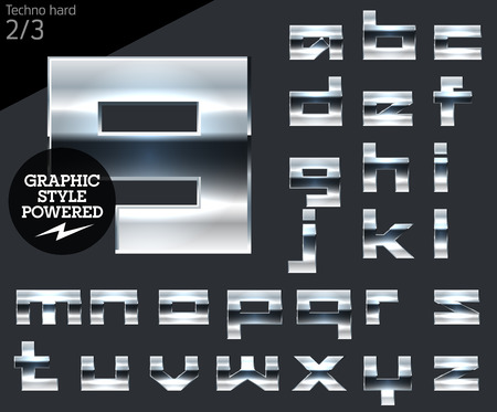 Silver chrome and aluminum vector alphabet set. Techno. File contains graphic styles available in Illustrator Illustration
