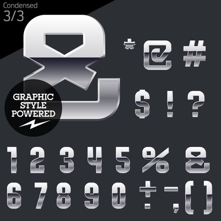 platinum style: Silver chrome and aluminum vector alphabet set. Condensed. File contains graphic styles available in illustrator