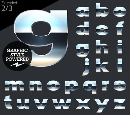 letras cromadas: Cromo plateado y el conjunto de alfabeto vector aluminio. Extendida. Archivo contiene estilos gráficos disponibles en Illustrator