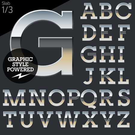 typeset: Silver chrome and aluminum vector alphabet set. Slab. File contains graphic styles available in Illustrator