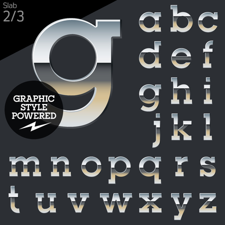 platinum: Silver chrome and aluminum vector alphabet set. Slab. File contains graphic styles available in Illustrator