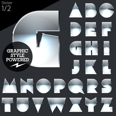Silver chrome and aluminum vector alphabet set. Sticker. File contains graphic styles available in Illustrator