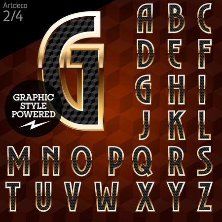 artdeco: Shiny font of gold and diamond vector illustration. Artdeco normal. File contains graphic styles available in Illustrator