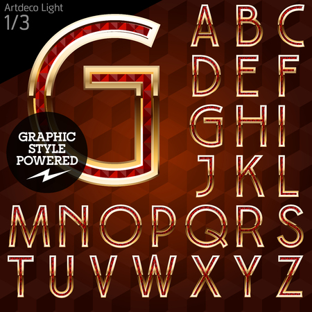 artdeco: Shiny font of gold and diamond vector illustration. Artdeco light. File contains graphic styles available in Illustrator
