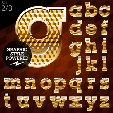 slab: Shiny font of gold and diamond vector illustration. Slab. File contains graphic styles available in Illustrator Illustration