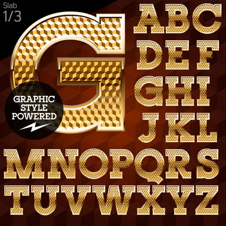 Shiny font of gold and diamond vector illustration. Slab. File contains graphic styles available in Illustrator Vettoriali
