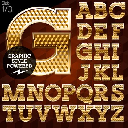 Shiny font von Gold und Diamanten Vektor-Illustration. Slab. Datei enthält Grafikstile in Illustrator Standard-Bild - 36630782