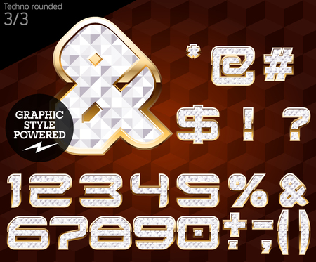 Shiny font of gold and diamond vector illustration. Techno rounded. File contains graphic styles available in Illustrator