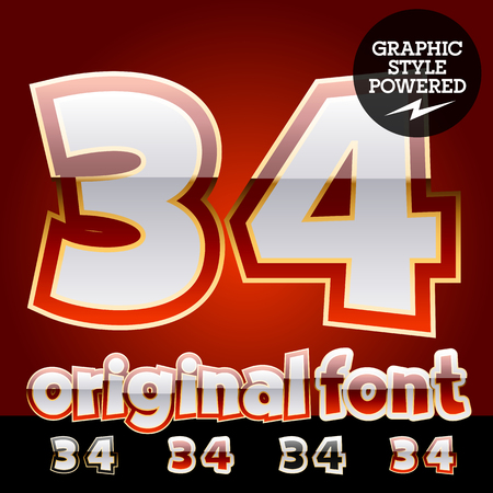 3 4: Vector set of original glossy white alphabet with gold border. Numbers 3  4
