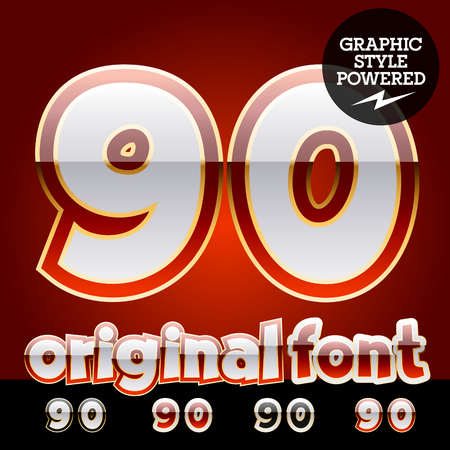 0 9: Vector set of original glossy white alphabet with gold border. Numbers 9 0