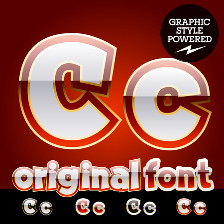 platinum: Vector set of original glossy white alphabet with gold border. Letter C