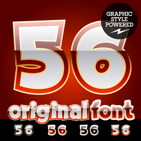 platinum: Vector set of original glossy white alphabet with gold border. Numbers 5 6 Illustration