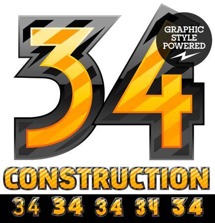 Vector set of striped orange and yellow alphabet in black border. Warning of danger style. Numbers 3 4 Ilustração