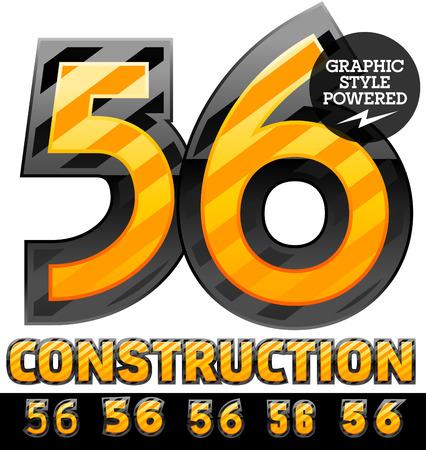 Vector set of striped orange and yellow alphabet in black border. Warning of danger style. Numbers 5 6 Ilustração