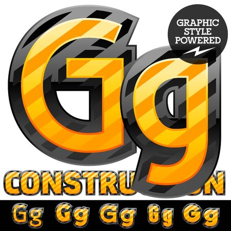 Vector set of striped orange and yellow alphabet in black border. Warning of danger style. Letter G Ilustração