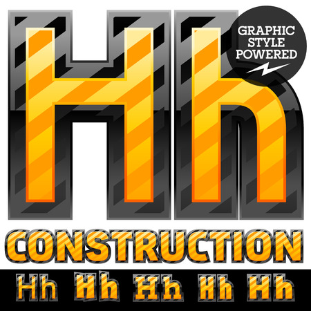 Vector set of striped orange and yellow alphabet in black border. Warning of danger style. Letter H